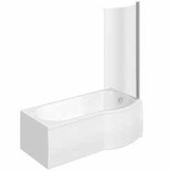 Evesham right handed P shaped shower bath 1500mm with 6mm shower screen