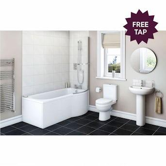 Energy Bathroom Suite with Evesham 1675 x 850 Shower Bath RH