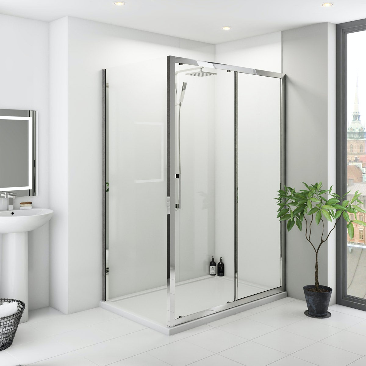 Multipanel Classic White unlipped shower wall panel 2400 x 1200