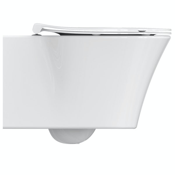Ideal Standard Concept Air wall hung toilet with soft close toilet seat, wall mounting frame and push plate