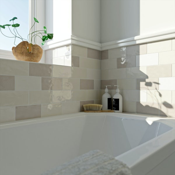Laura Ashley Artisan pale biscuit wall tile 75mm x 150mm