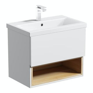 Tate Anthracite & Oak 600 wall hung vanity unit with basin
