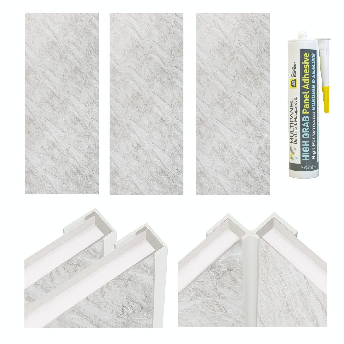 Multipanel Economy Roman Marble shower wall panel installation set for enclosures over 1000 x 1000