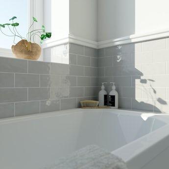 Laura Ashley Artisan french grey gloss wall tile 75mm x 150mm