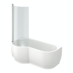 Maine left handed P shaped shower bath with 6mm shower screen