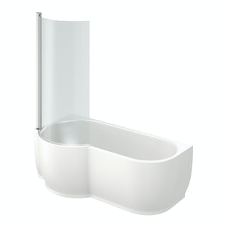 Harrison P Shaped Freestanding Shower Bath & 6mm Screen LH