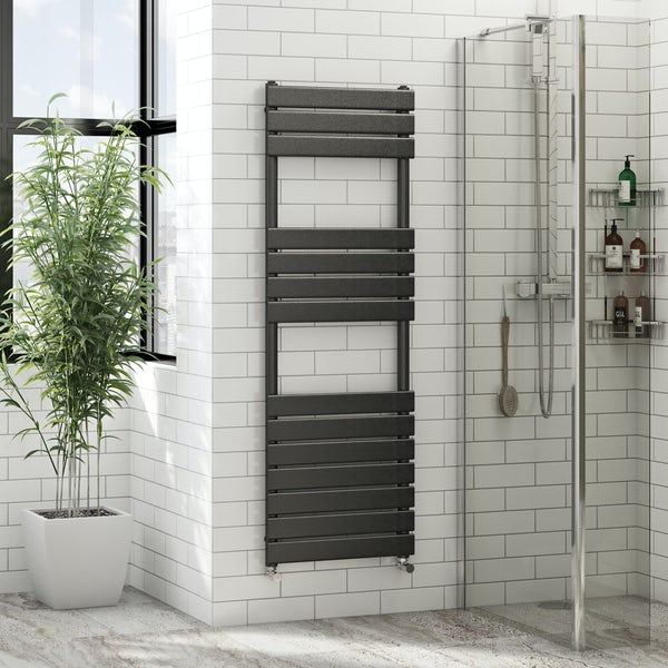 Signelle anthracite heated towel rail 1500 x 500 offer pack