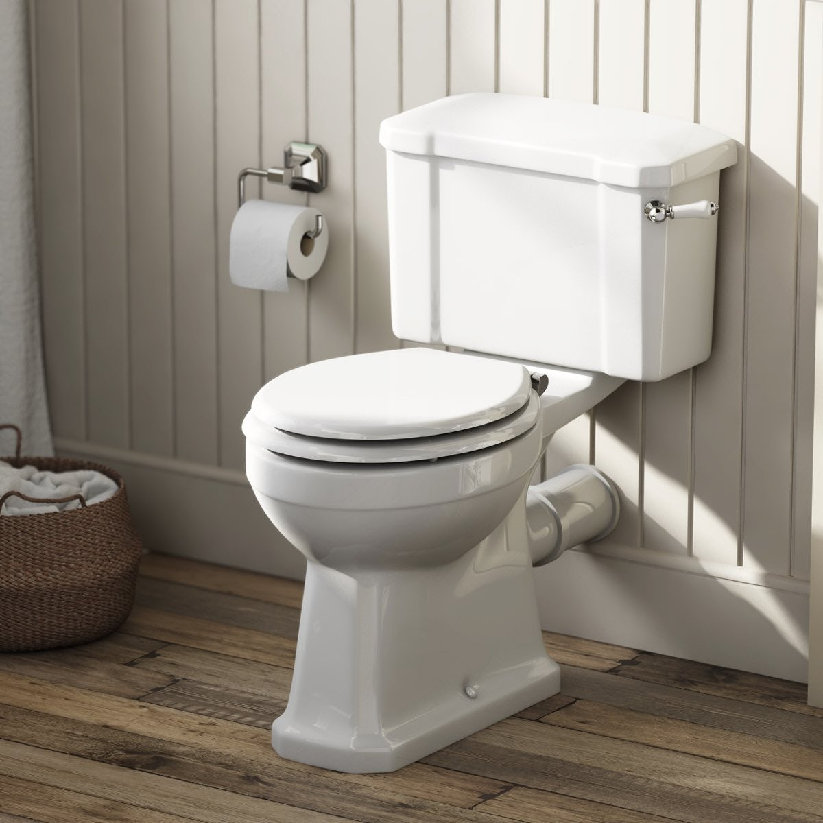 Camberley close coupled toilet with wooden soft seat white The Bath Co