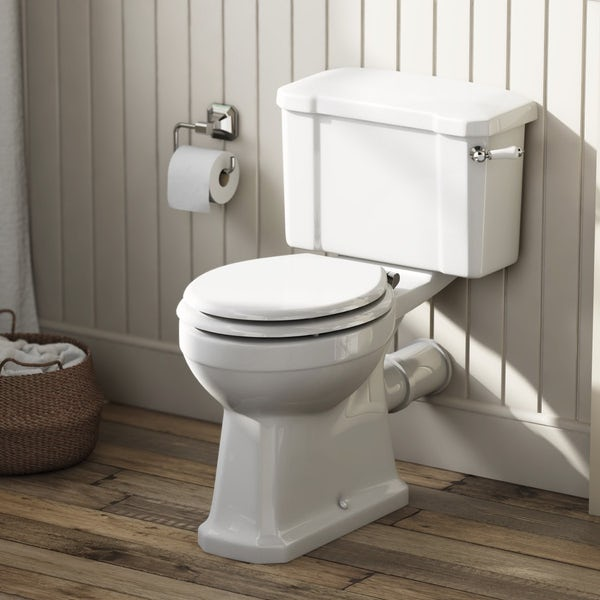 Camberley Close Coupled Toilet inc Luxury White Soft Close Seat
