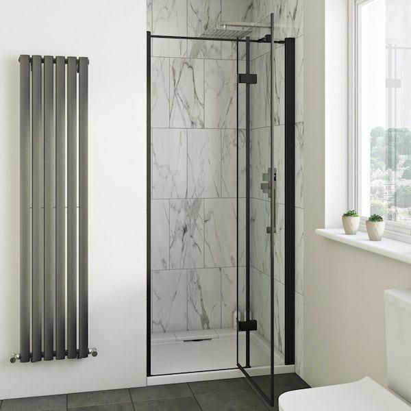 Mode Cooper black  hinged easy clean shower door 1000mm