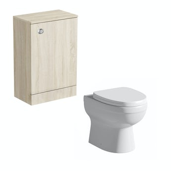 Orchard Arden oak back to wall unit with Eden toilet and seat