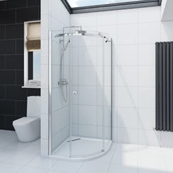 Infiniti 8mm single sliding door quadrant shower enclosure 900 x 900 offer pack