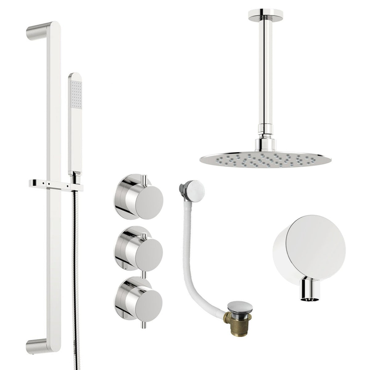Mode Hardy thermostatic shower valve with complete ceiling shower bath set