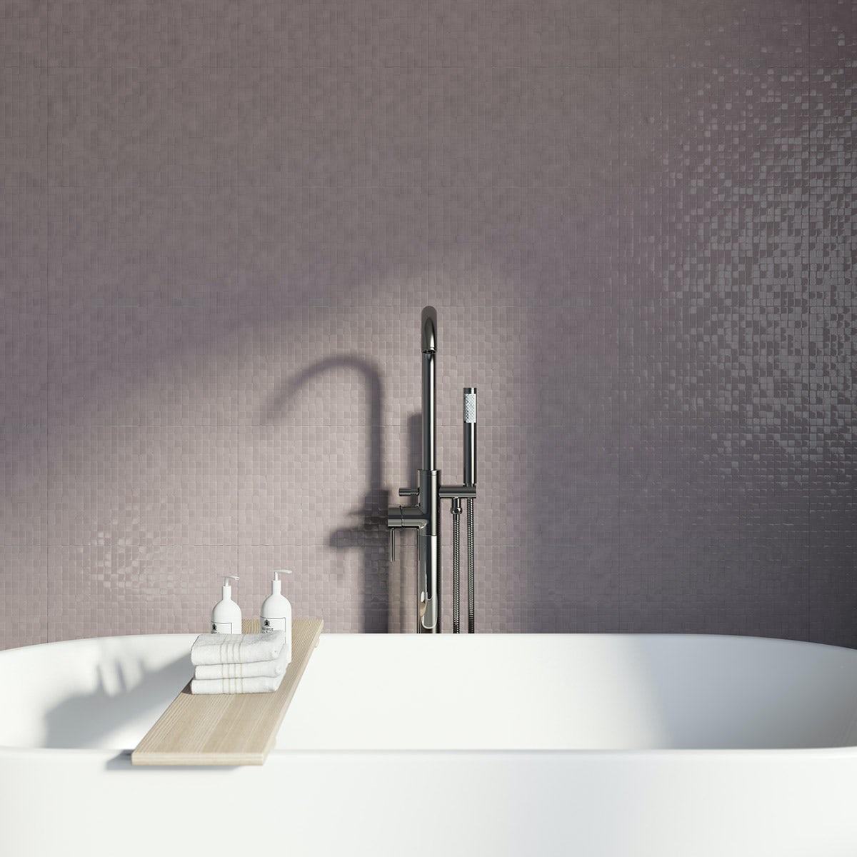 Studio Conran hartland poise pressed mosaic beige gloss tile 248mm x 398mm