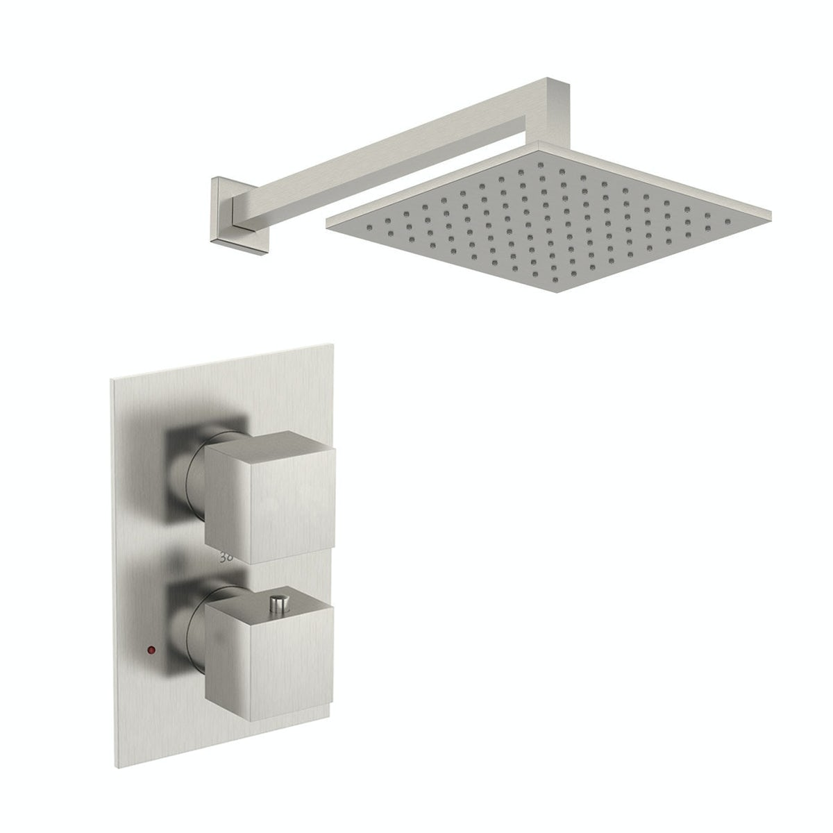 Mode Spencer square thermostatic twin valve brushed nickel shower set - 250 mm - 0.5 BAR - Sold by Victoria Plum