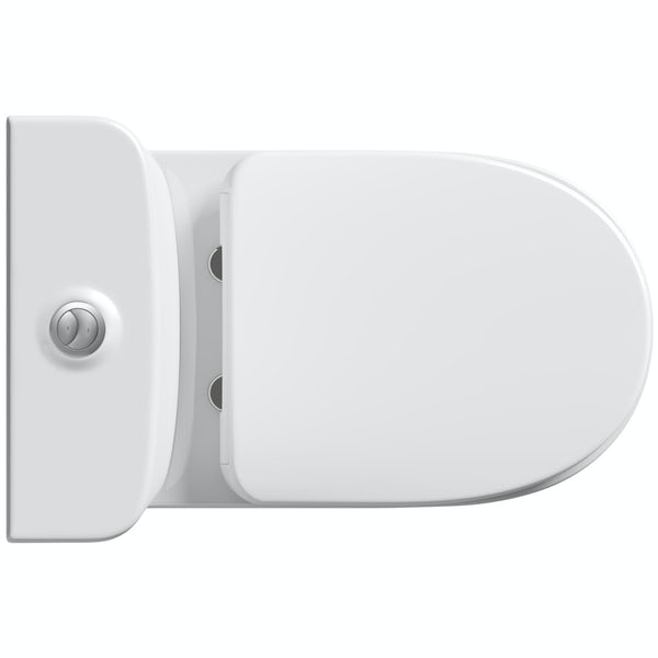 Mode Heath comfort height close coupled toilet with soft close toilet seat with pan connector