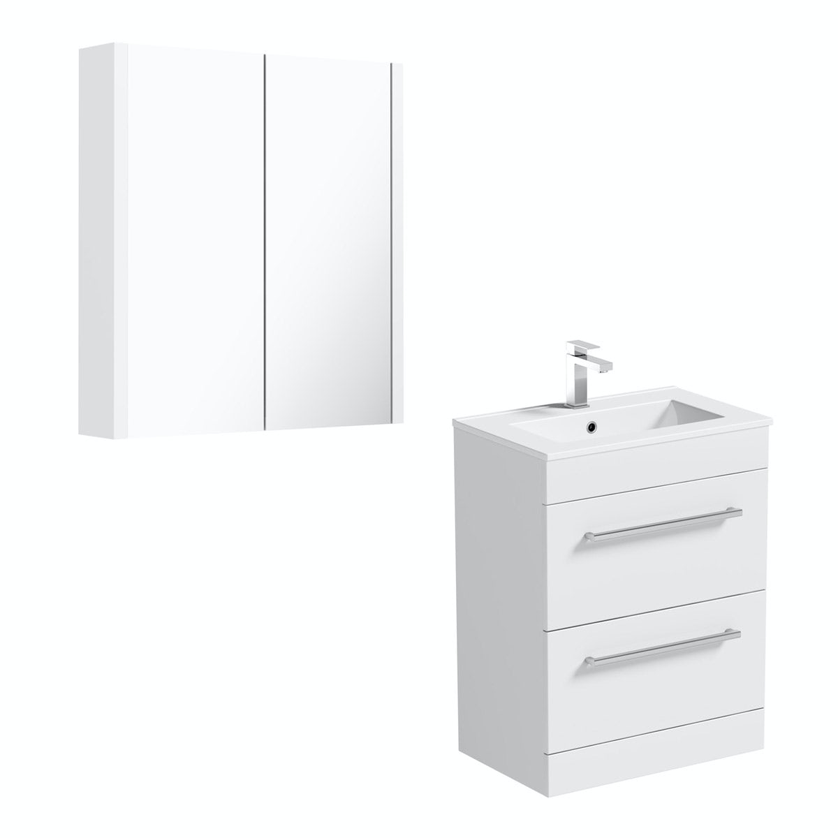 Orchard derwent white floor drawer unit 600mm and mirror for Mirrored drawer unit