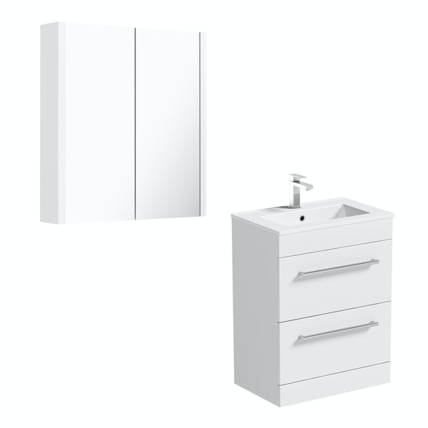 Orchard Derwent white floor drawer unit 600mm and mirror