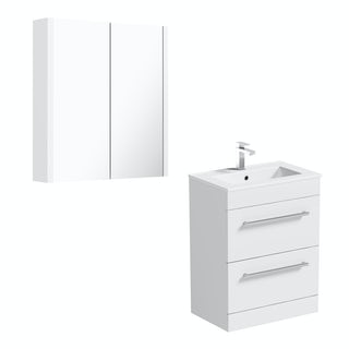Orchard Derwent white floor drawer unit 600mm and mirror
