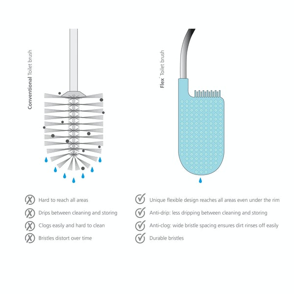 JosephJoseph Flex plus smart toilet brush with storage bay