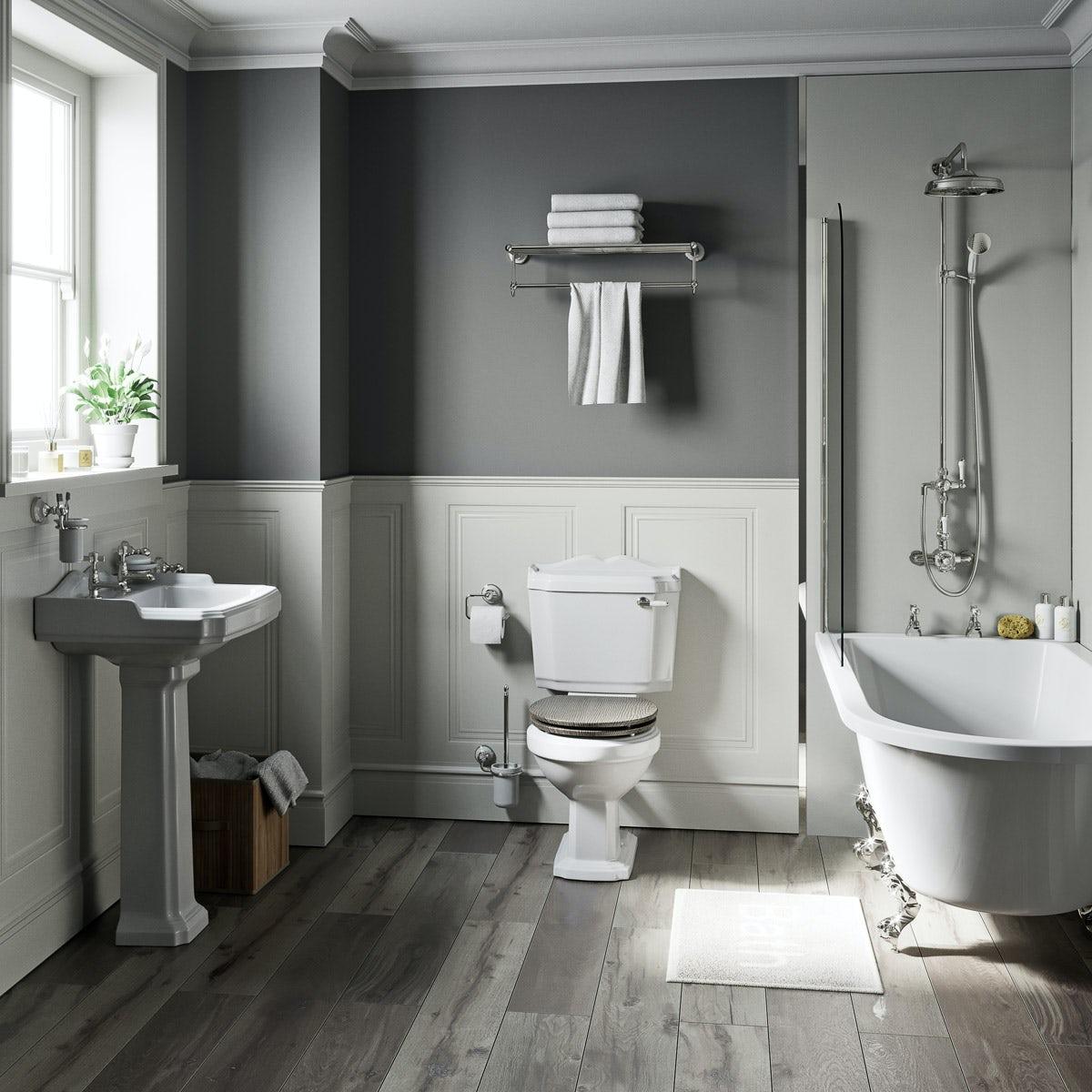 The Bath Co. Winchester grey oak freestanding shower bath suite