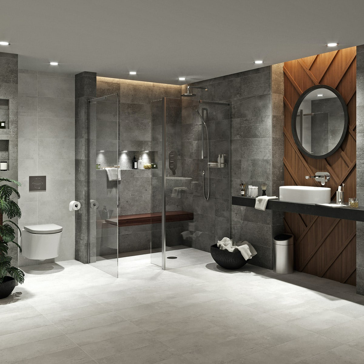Mode Tate dark domain wet room suite 1600 x 800 complete room