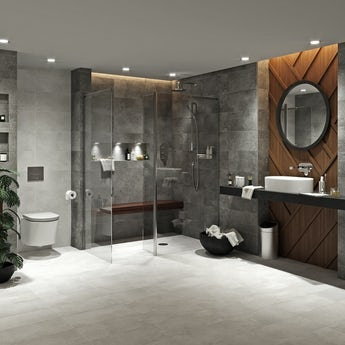 Mode Tate dark domain ensuite suite with room panel, shower and taps