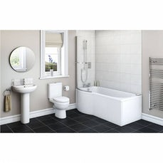 Image of Energy Bathroom Suite with Evesham 1700 x 850 Shower Bath LH & Free Tap