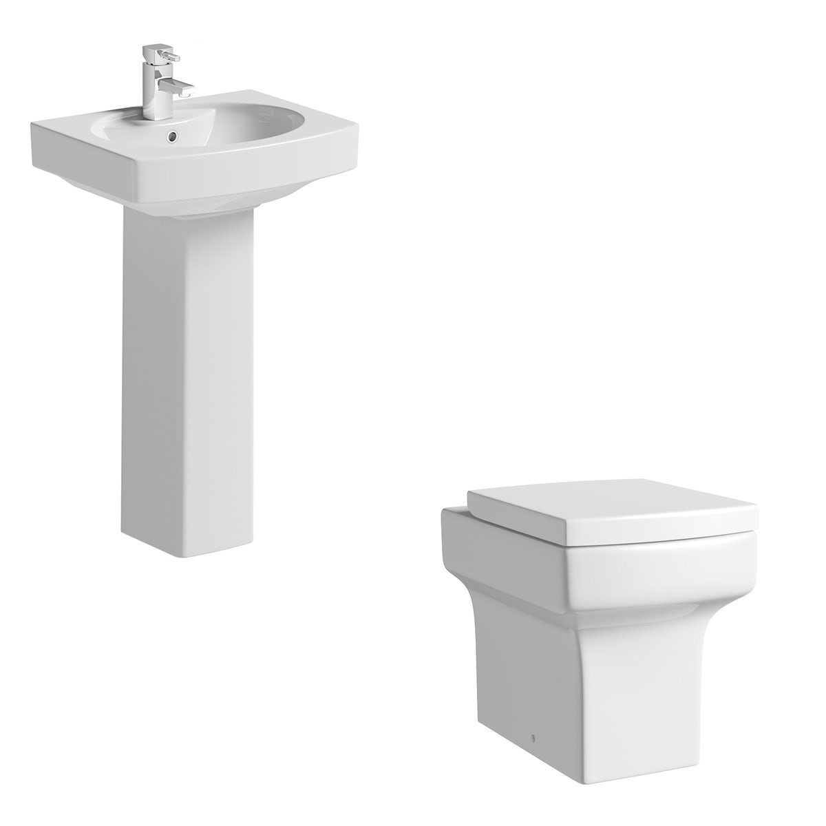 Orchard Wye back to wall cloakroom suite with full pedestal basin 555mm