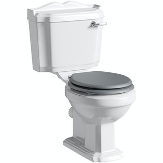 Winchester close coupled toilet inc grey soft close seat