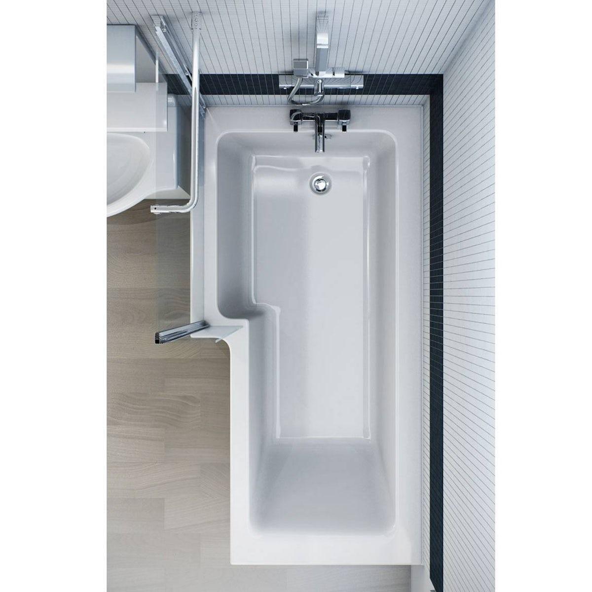 orchard l shaped left handed shower bath 1700mm with 6mm shower boston shower bath 1700 x 850 lh inc screen towel rail