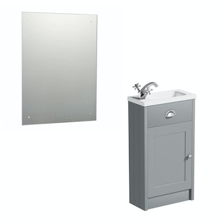 The Bath Co. Dulwich grey cloakroom vanity unit and rectangular drilled mirror 600 x 450
