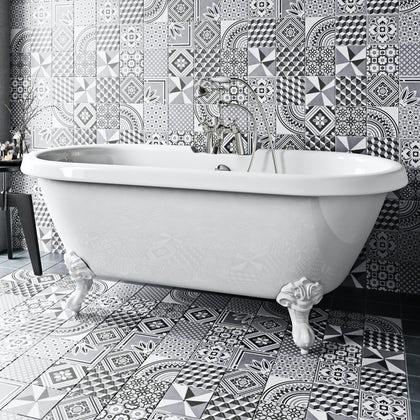 Ted Baker Multi GeoTile grey wall and floor tile 148mm x 148mm