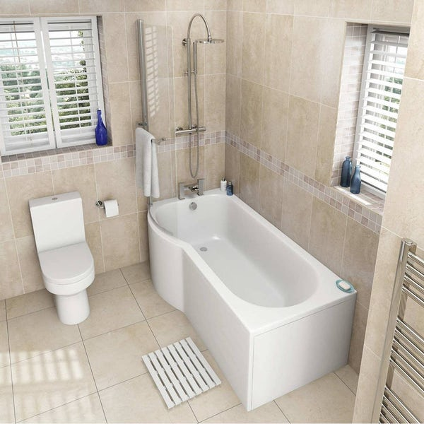 Oakley Bathroom Suite with Evesham 1700 x 850 Shower Bath LH