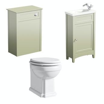 The Bath Co. Camberley sage cloakroom furniture suite
