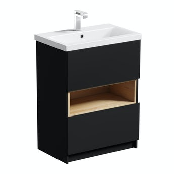 Mode Tate anthracite & oak vanity unit 600mm with basin