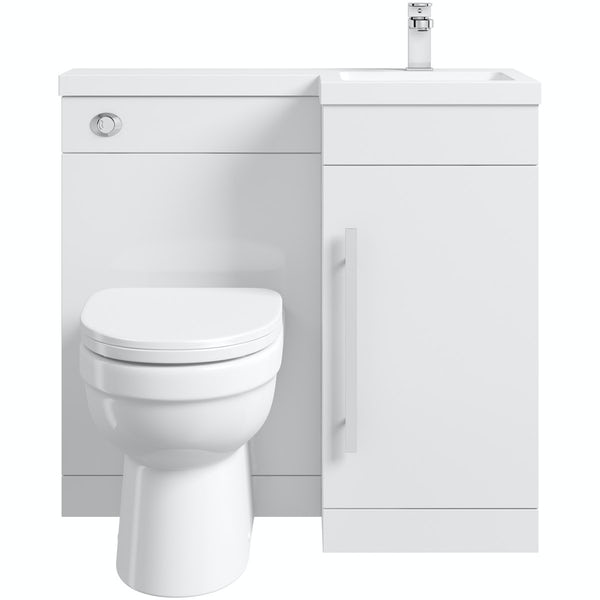 MySpace white right handed unit with Eden back to wall toilet