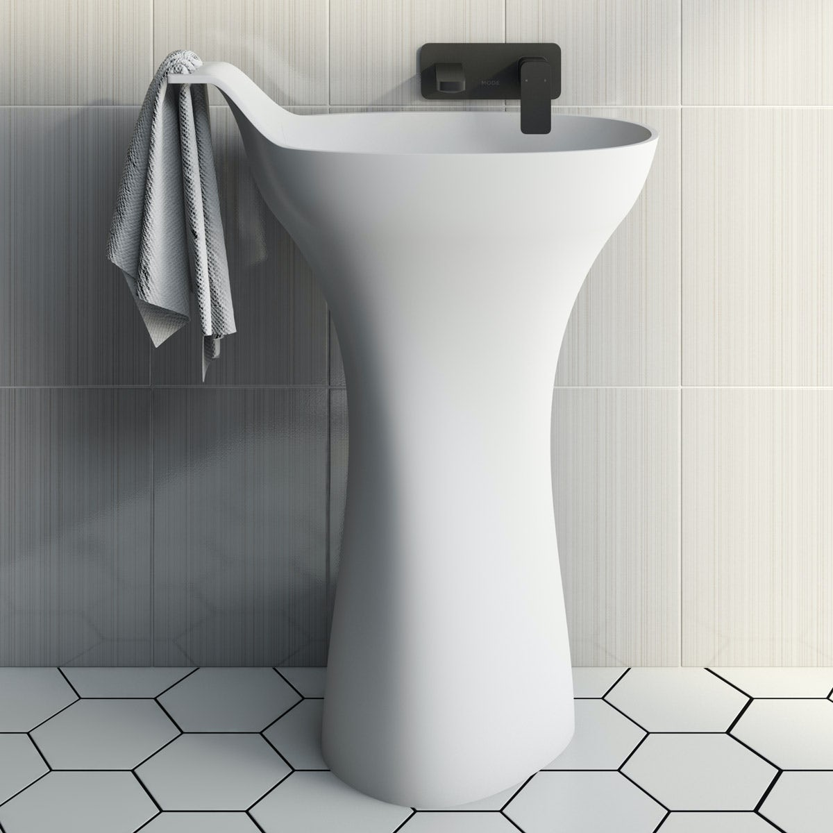 Mode Barocci solid surface freestanding basin with waste