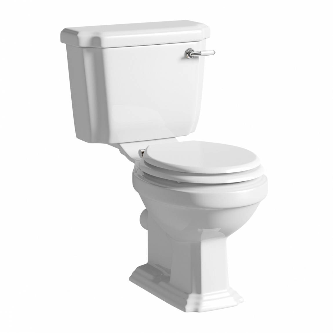 The Bath Co. Dulwich close coupled toilet with soft close wooden toilet seat white with pan connector