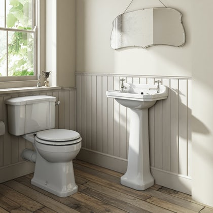 The Bath Co.Camberley completeclose coupled toilet and cloakroom basin suite with tap and waste