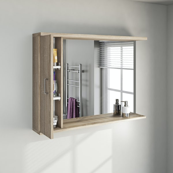 Sienna oak bathroom mirror with lights 1050mm