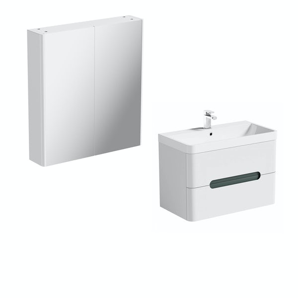 Mode Ellis slate wall hung vanity unit 800mm and mirror cabinet offer