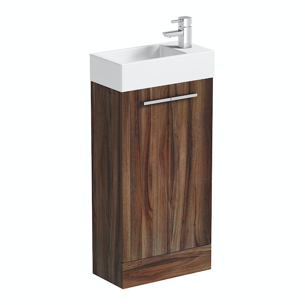 Clarity Compact walnut cloakroom unit with resin basin 410mm