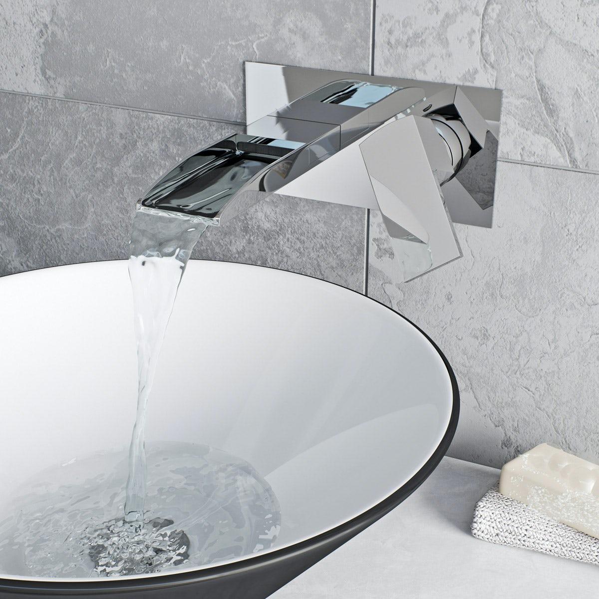 Erskine wall mounted waterfall basin mixer tap