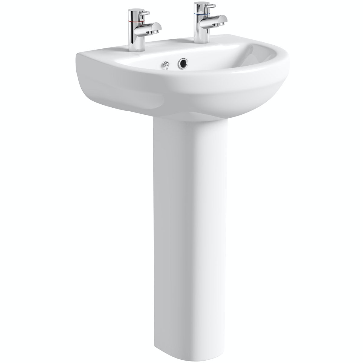 Orchard Wharfe 2 tap hole full pedestal basin with waste 550mm