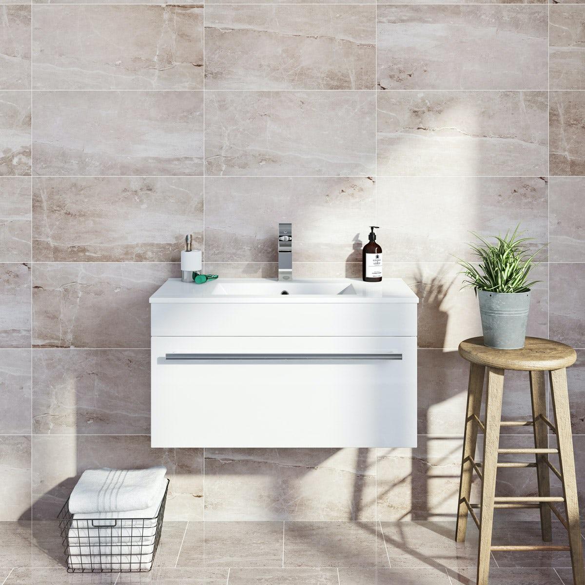 British Ceramic Tile Earth marble effect grey matt tile 298mm x 498mm