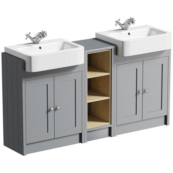 The Bath Co. Dulwich stone grey double basin & open storage combination