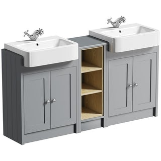The Bath Co. Dulwich stone grey double basin & open storage combination