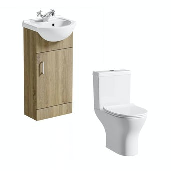 Sienna 41 Oak Vanity Unit with Compact Round Toilet
