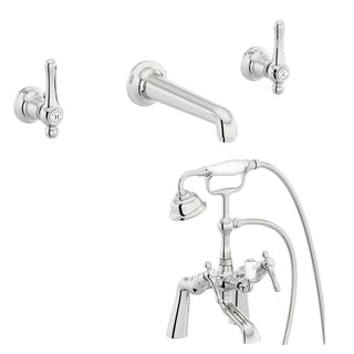 The Bath Co. Camberley lever wall mounted basin and bath shower mixer tap pack
